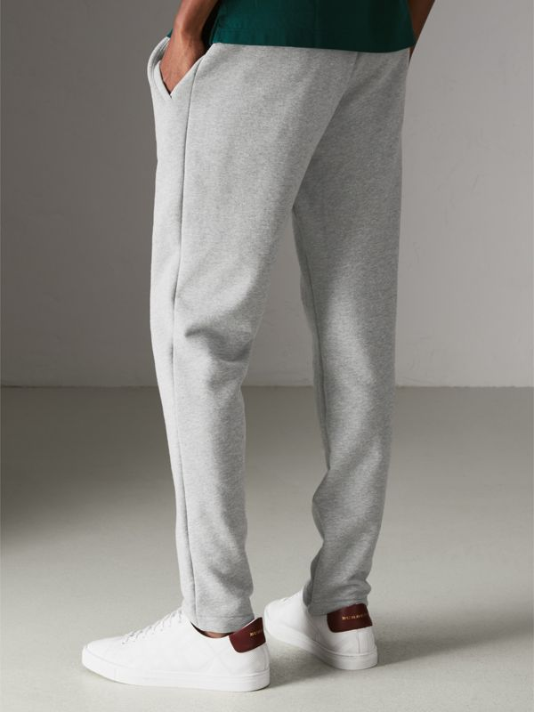 Graffitied Ticket Print Sweatpants in Pale Grey Melange - Men | Burberry United Kingdom - cell image 2