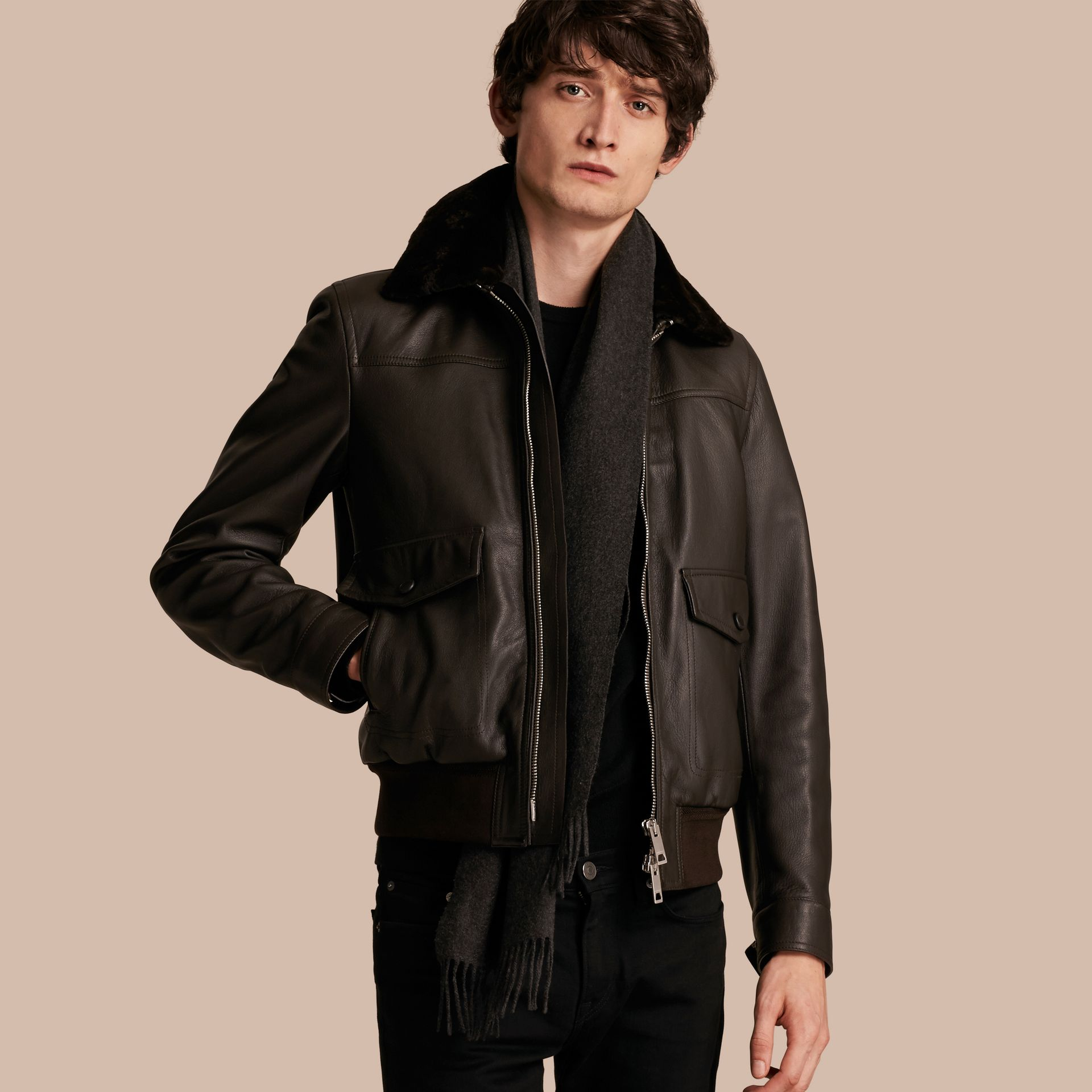 Dark brown Textured Leather Jacket with Detachable Mink Collar - gallery image 1