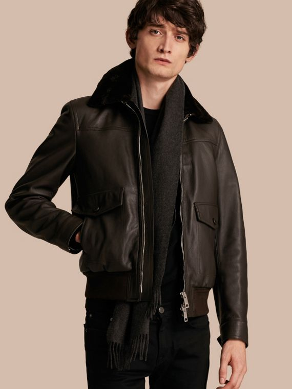 Textured Leather Jacket with Detachable Mink Collar
