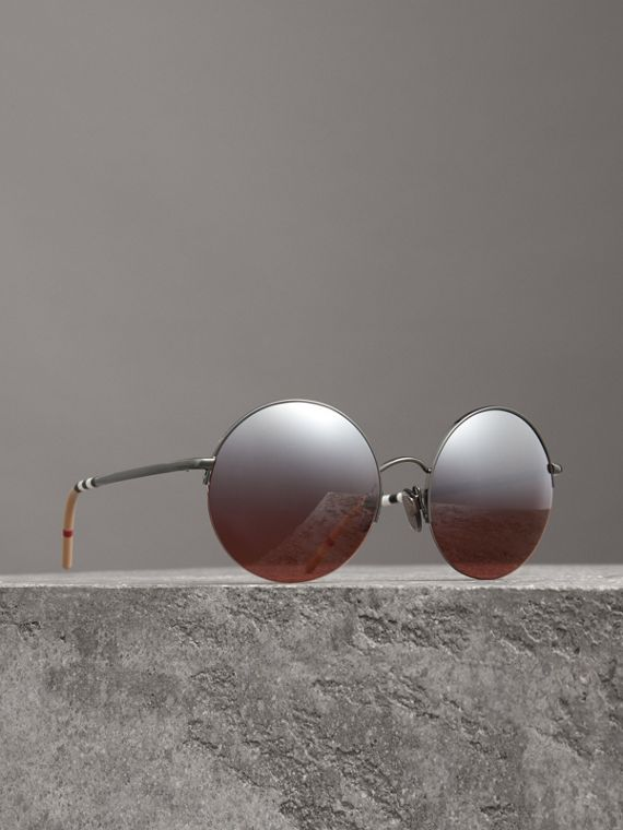 Mirrored Round Frame Sunglasses in Burgundy
