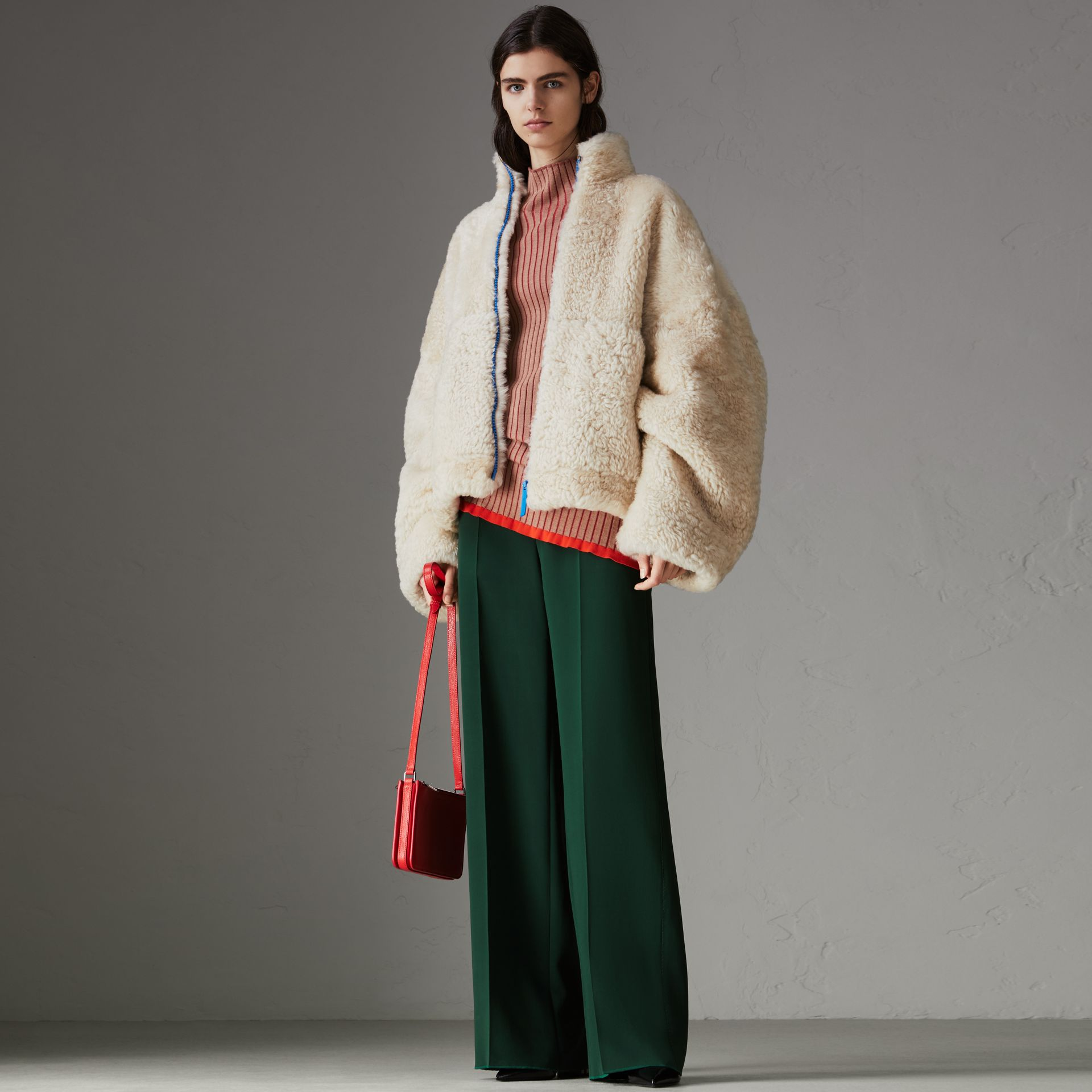 Contrast Zip Shearling Funnel-neck Jacket in Natural White - Women | Burberry Singapore - gallery image 0