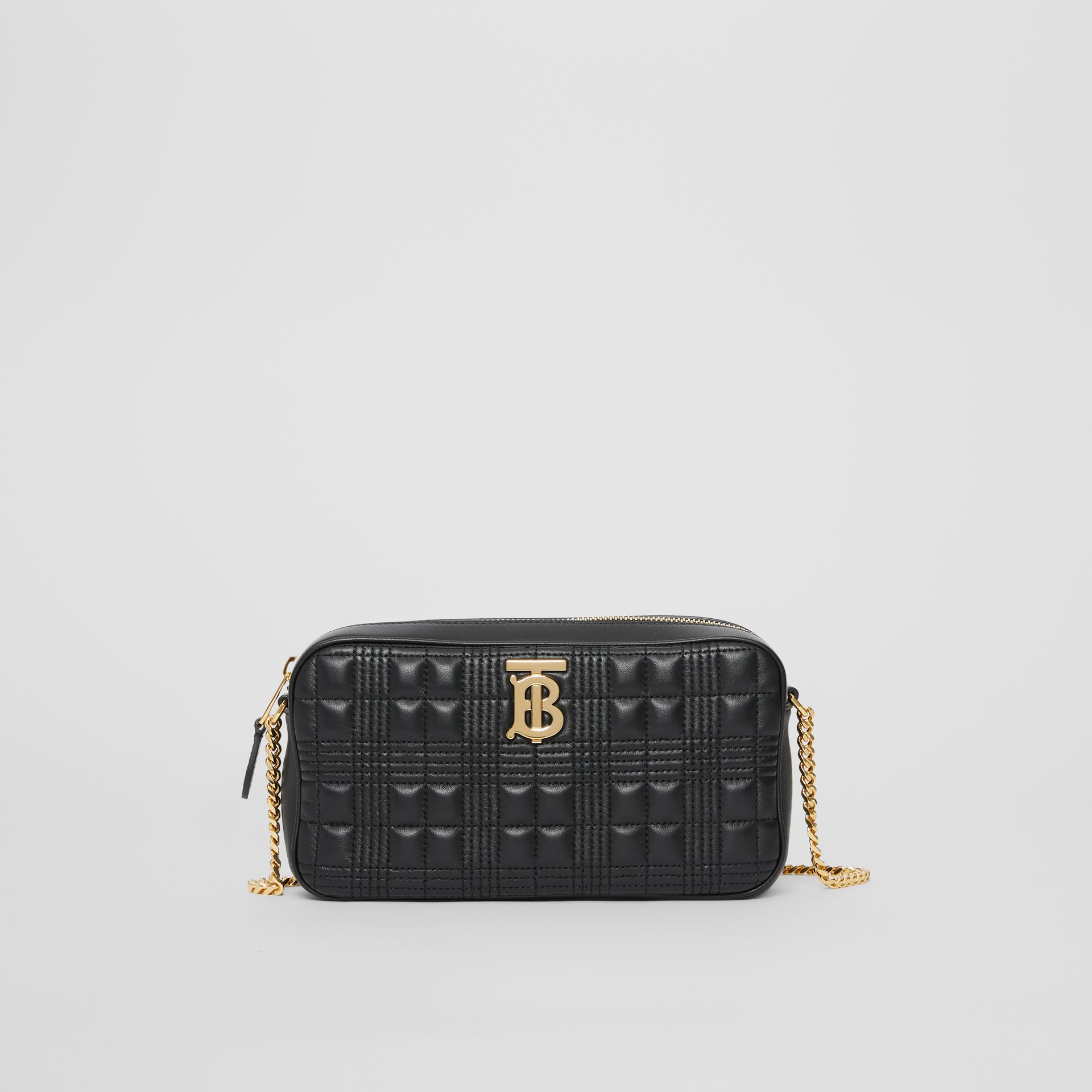 Quilted Check Lambskin Camera Bag in Black - Women | Burberry - gallery image 0