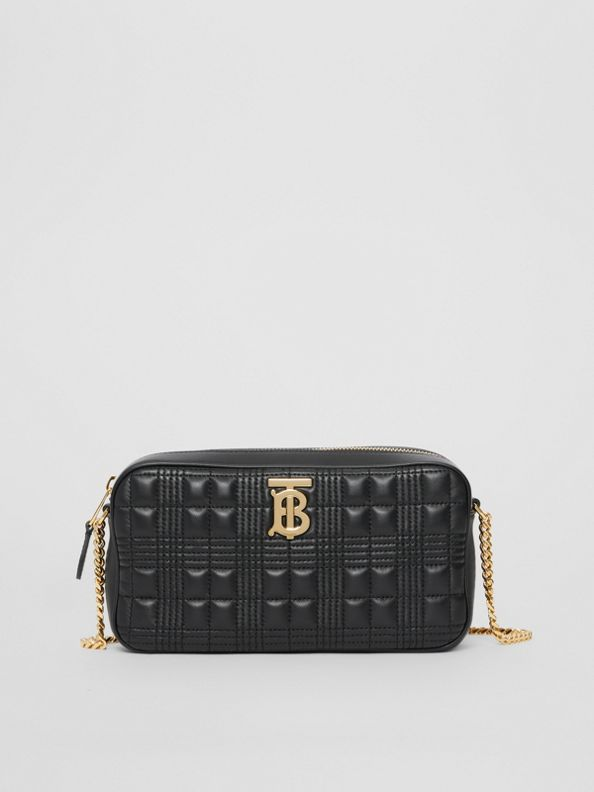 Quilted Check Lambskin Camera Bag in Black