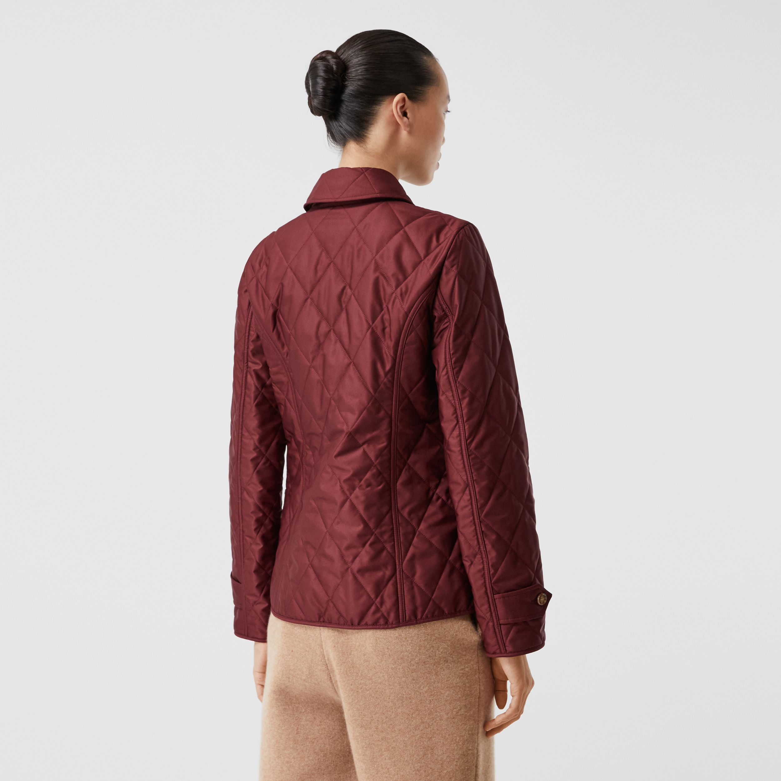 Diamond Quilted Thermoregulated Jacket in Deep Claret - Women | Burberry - 3