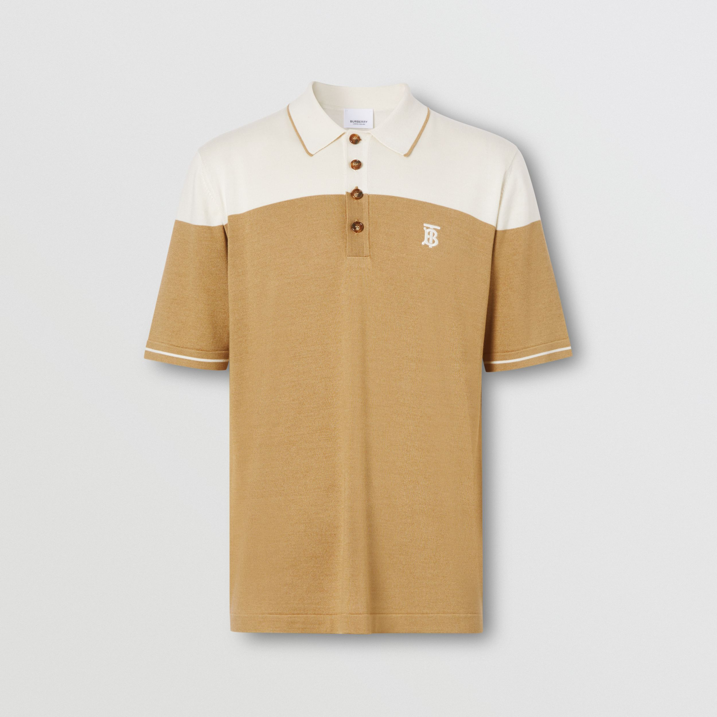 Monogram Motif Two-tone Silk Cashmere Polo Shirt in Archive Beige - Men | Burberry - 4