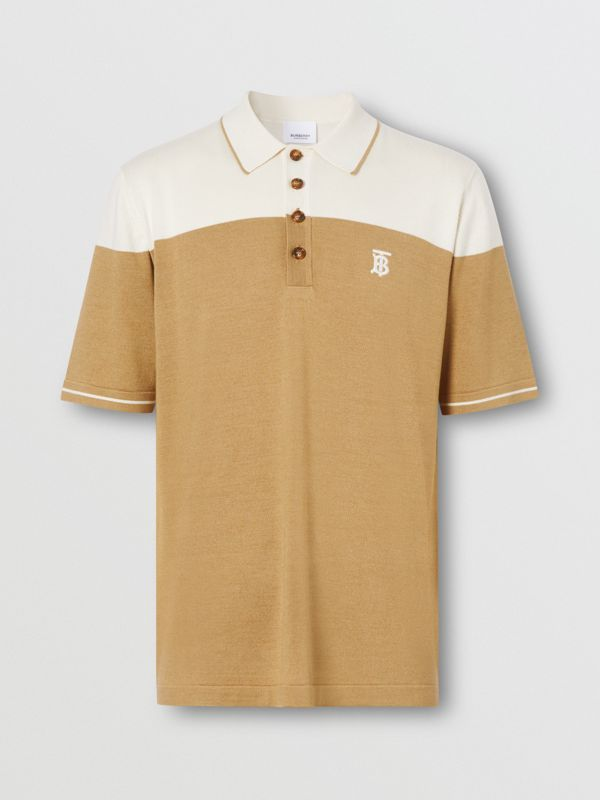Monogram Motif Two-tone Silk Cashmere Polo Shirt in Archive Beige - Men | Burberry - cell image 3