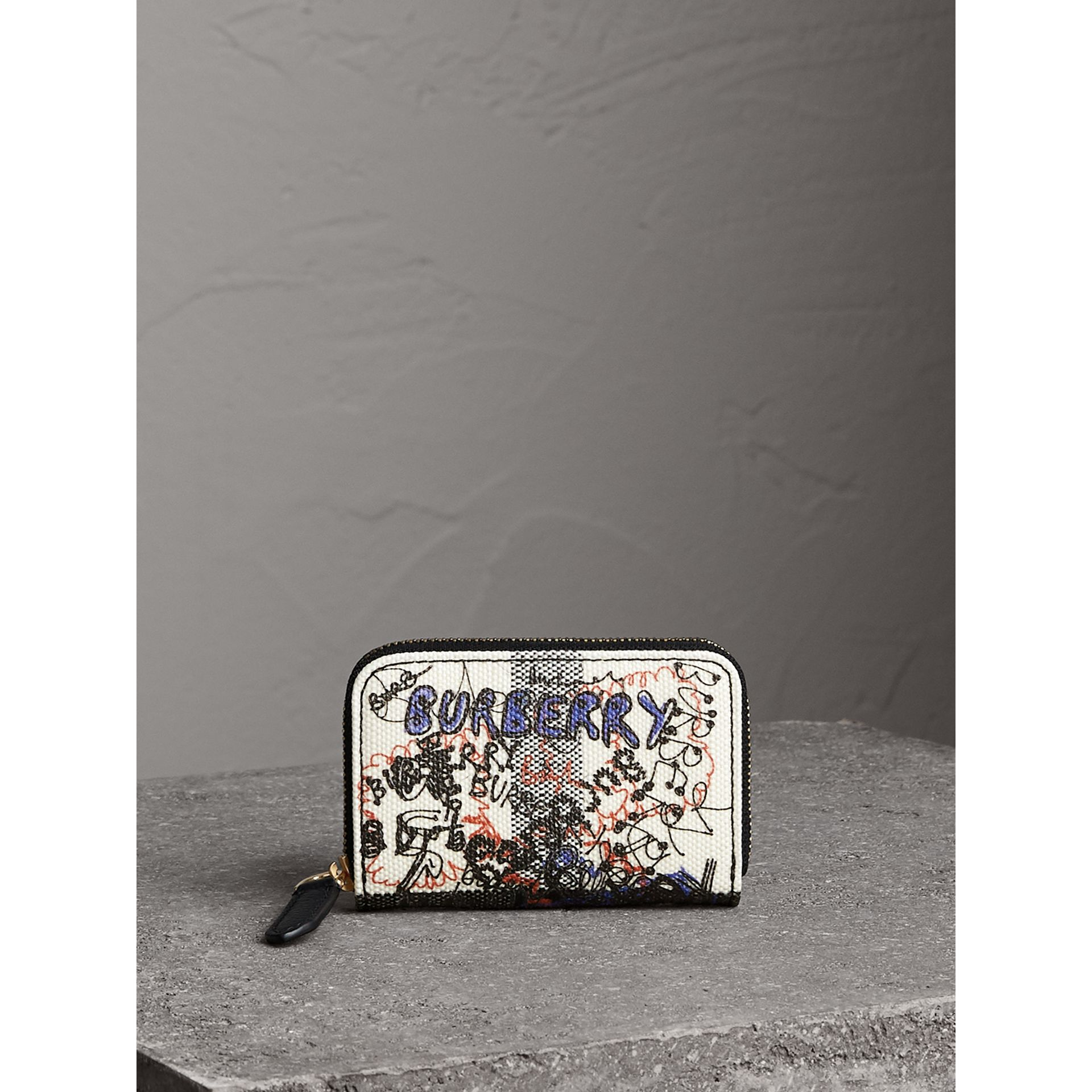 Doodle Print Coated Canvas Check Ziparound Coin Case in White/black | Burberry Hong Kong - gallery image 5