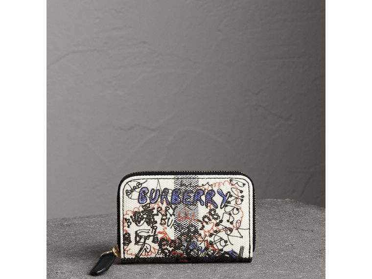 Doodle Print Coated Canvas Check Ziparound Coin Case in White/black | Burberry - cell image 4