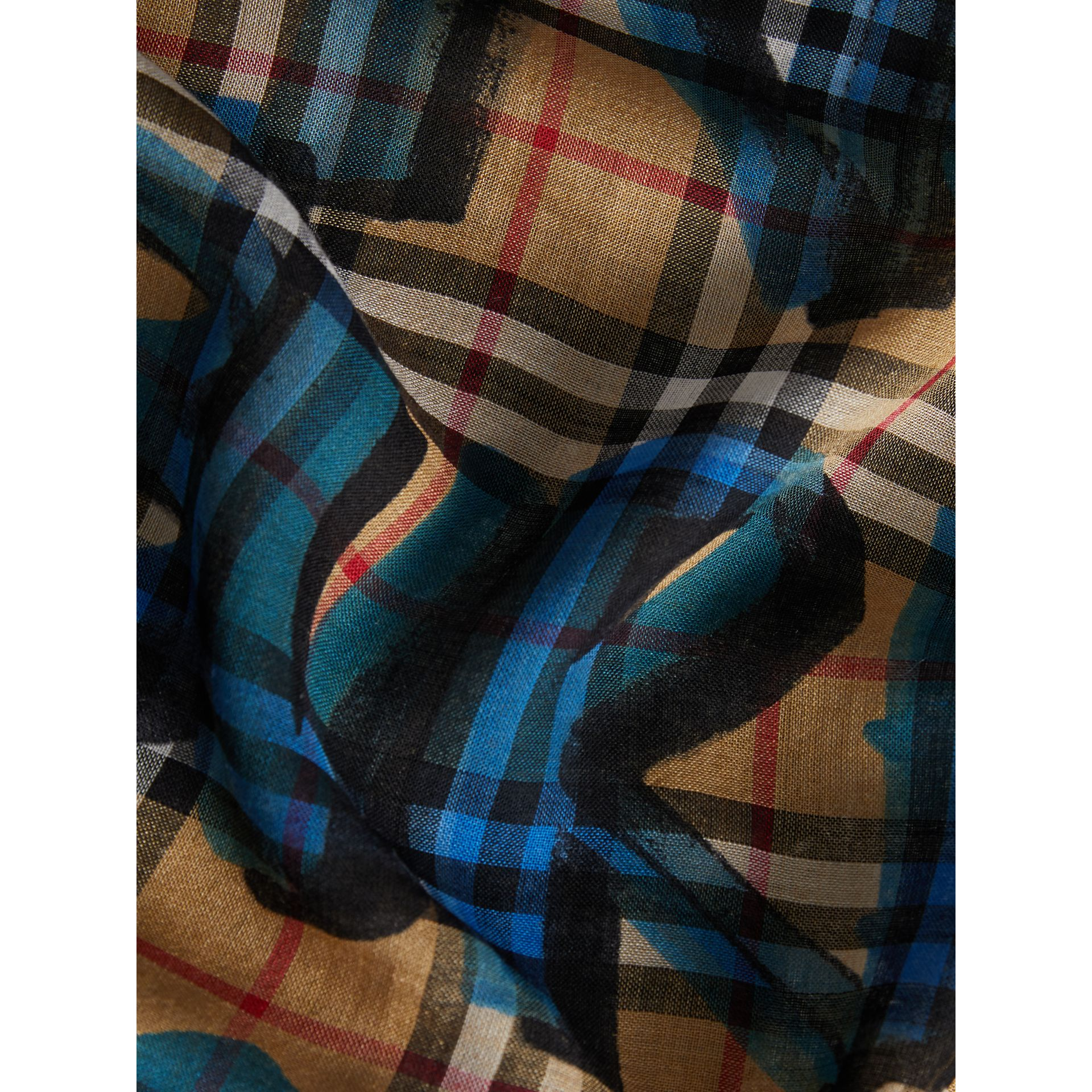 Graffiti Print Check Wool Silk Large Square Scarf in Brilliant Blue | Burberry United Kingdom - gallery image 1