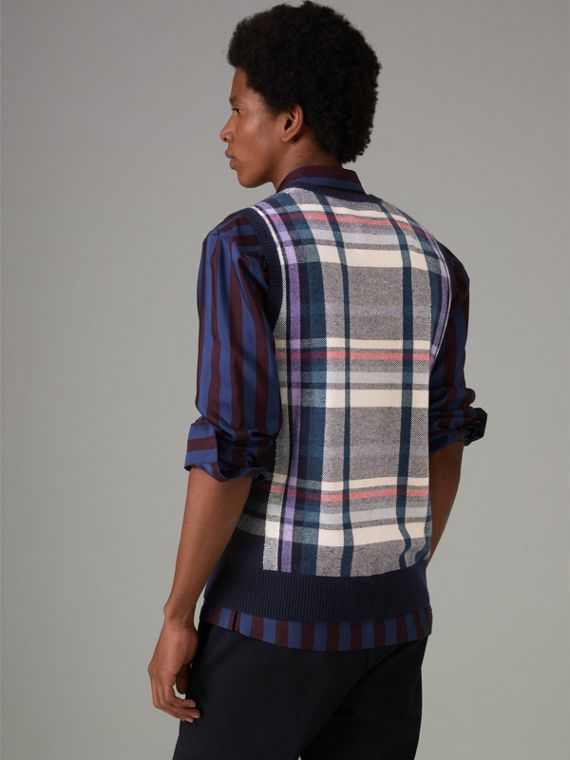 Check Cashmere Tank Top in Bright Navy - Men | Burberry United States - cell image 2
