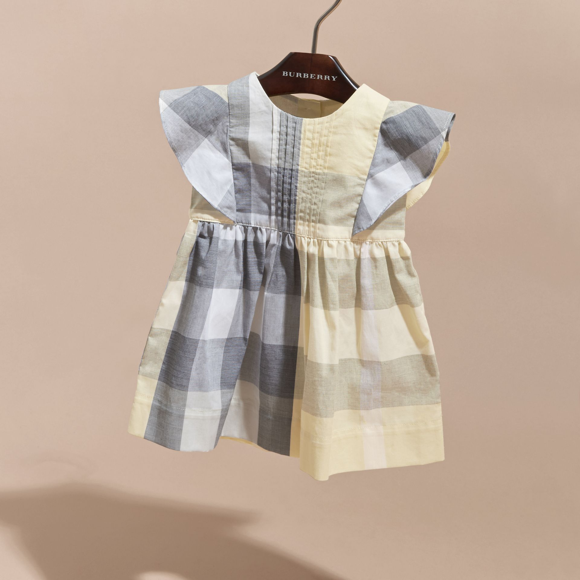 Ruffle Detail Check Cotton Dress in Pale Yellow | Burberry - gallery image 2