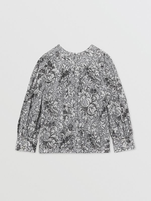 Floral Print Cotton Silk Blouse in Grey | Burberry United States - cell image 3