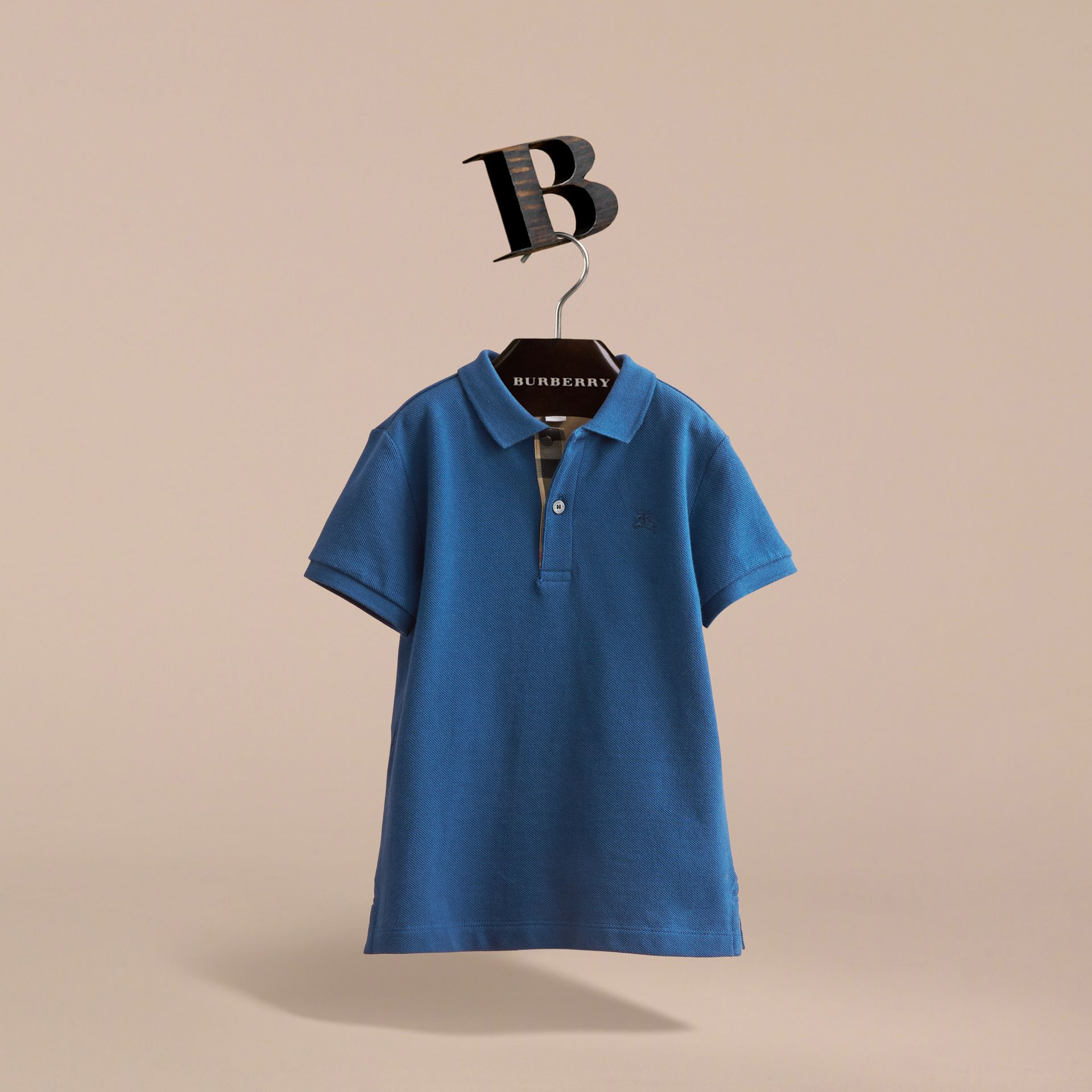 Check Placket Cotton Piqué Polo Shirt in Marine Blue - Boy | Burberry - gallery image 3
