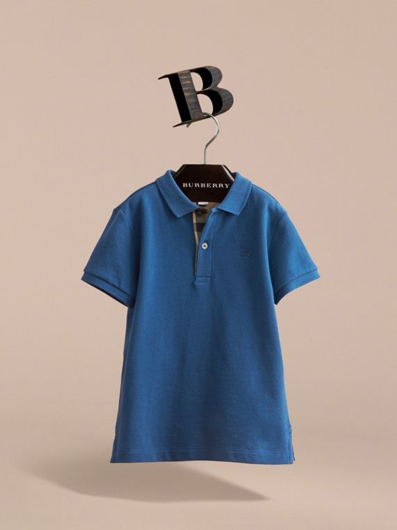 Check Placket Cotton Piqué Polo Shirt in Marine Blue - Boy | Burberry - cell image 2