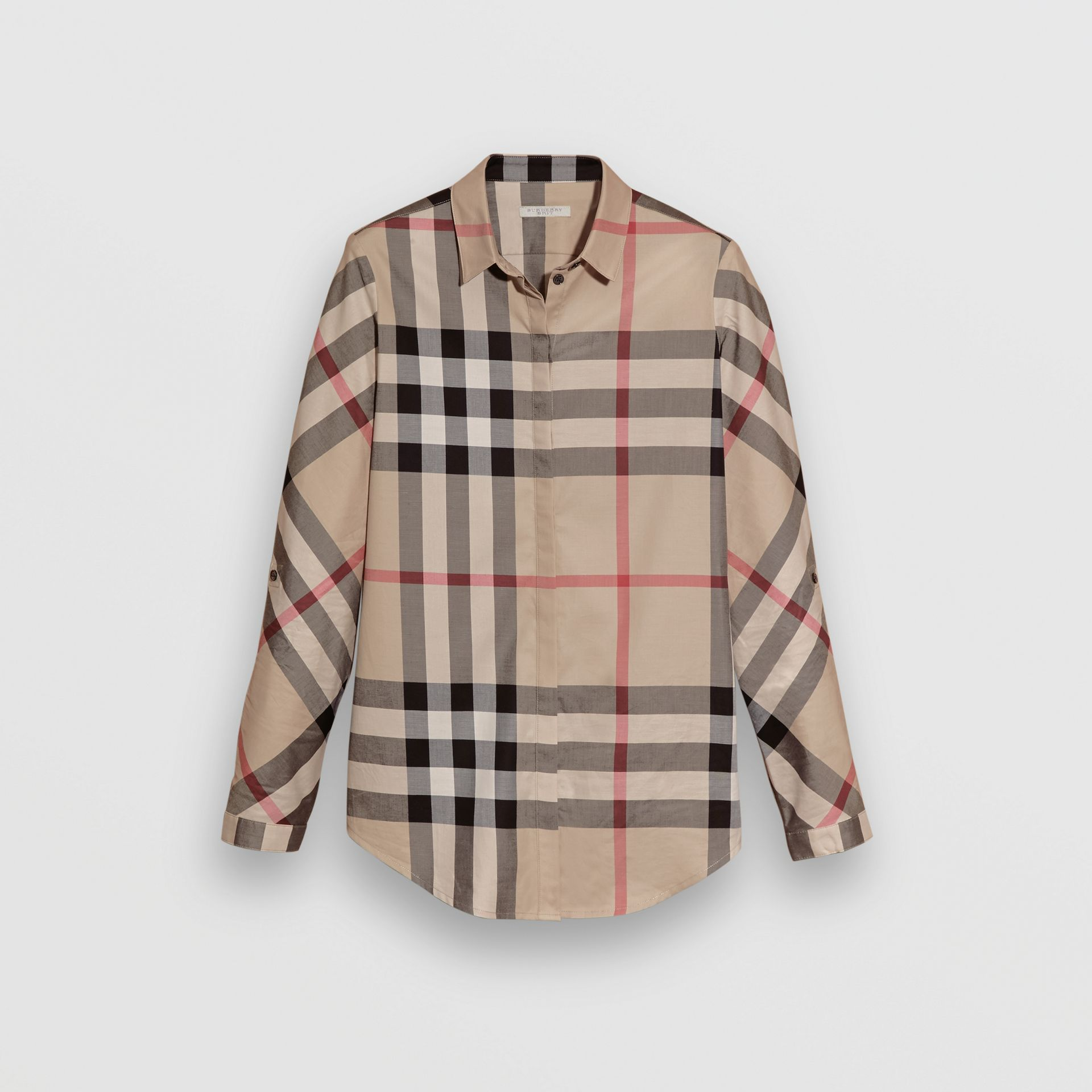 Stretch-Cotton Check Shirt in New Classic - Women | Burberry United Kingdom - gallery image 3