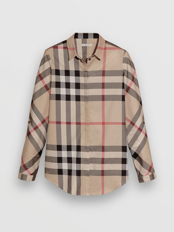 Bluse aus Stretchbaumwolle in Check (New Classic)