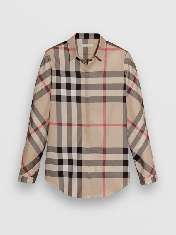 Stretch-Cotton Check Shirt in New Classic - Women | Burberry - cell image 3