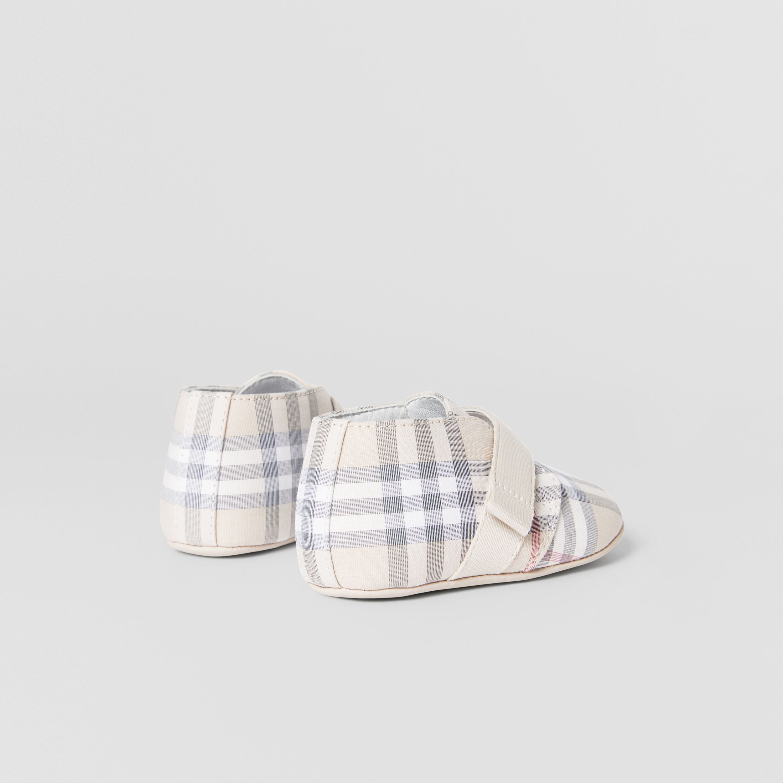 Check Cotton and Leather Booties in Pale Stone - Children | Burberry Australia - 2