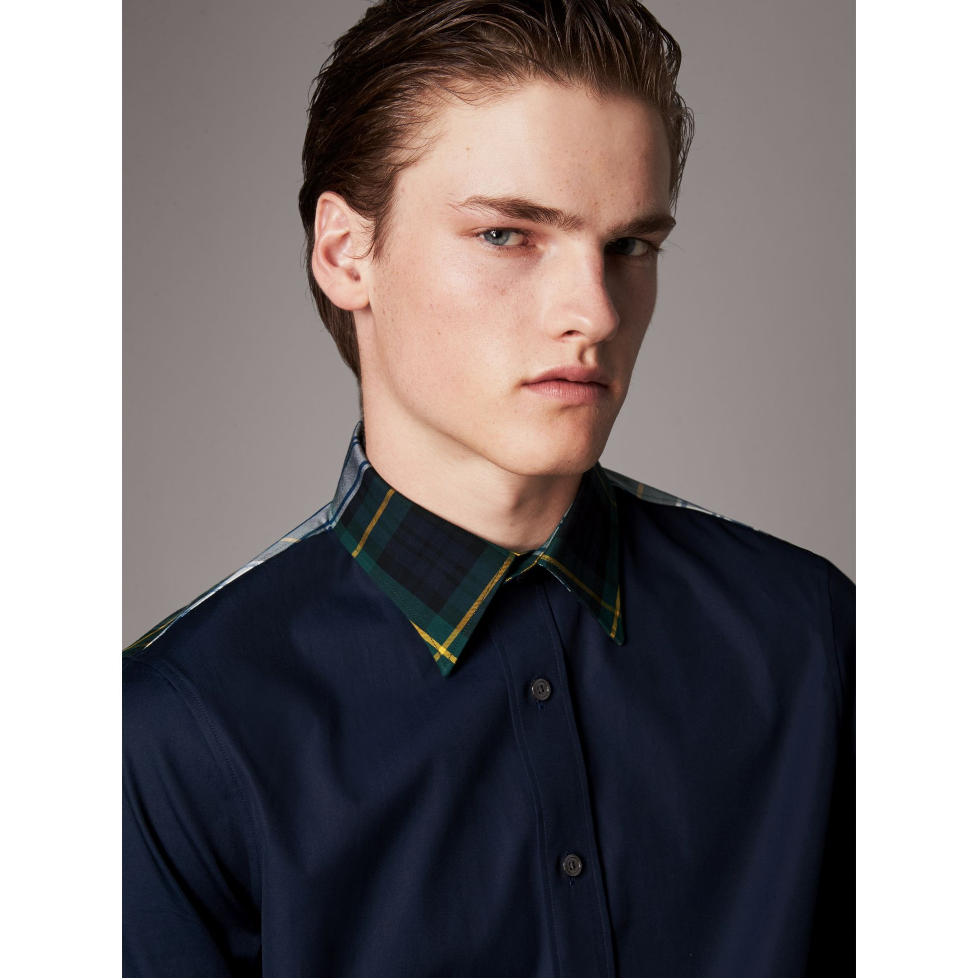 Tartan Cotton Gabardine Detail Cotton Poplin Shirt in Navy - Men | Burberry - gallery image 1