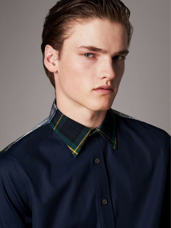 Tartan Cotton Gabardine Detail Cotton Poplin Shirt in Navy - Men | Burberry - cell image 1