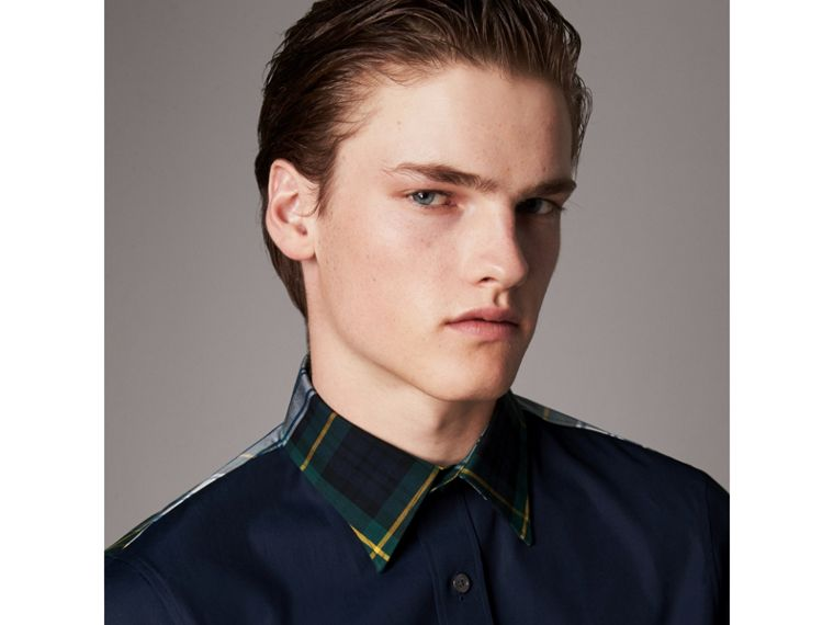 Tartan Cotton Gabardine Detail Cotton Poplin Shirt in Navy - Men | Burberry United Kingdom - cell image 1