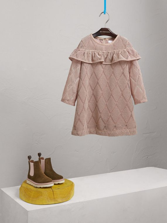 Ruffle Detail Diamond Macramé Lace A-line Dress in Pale Ash Rose - Girl | Burberry United States - cell image 2