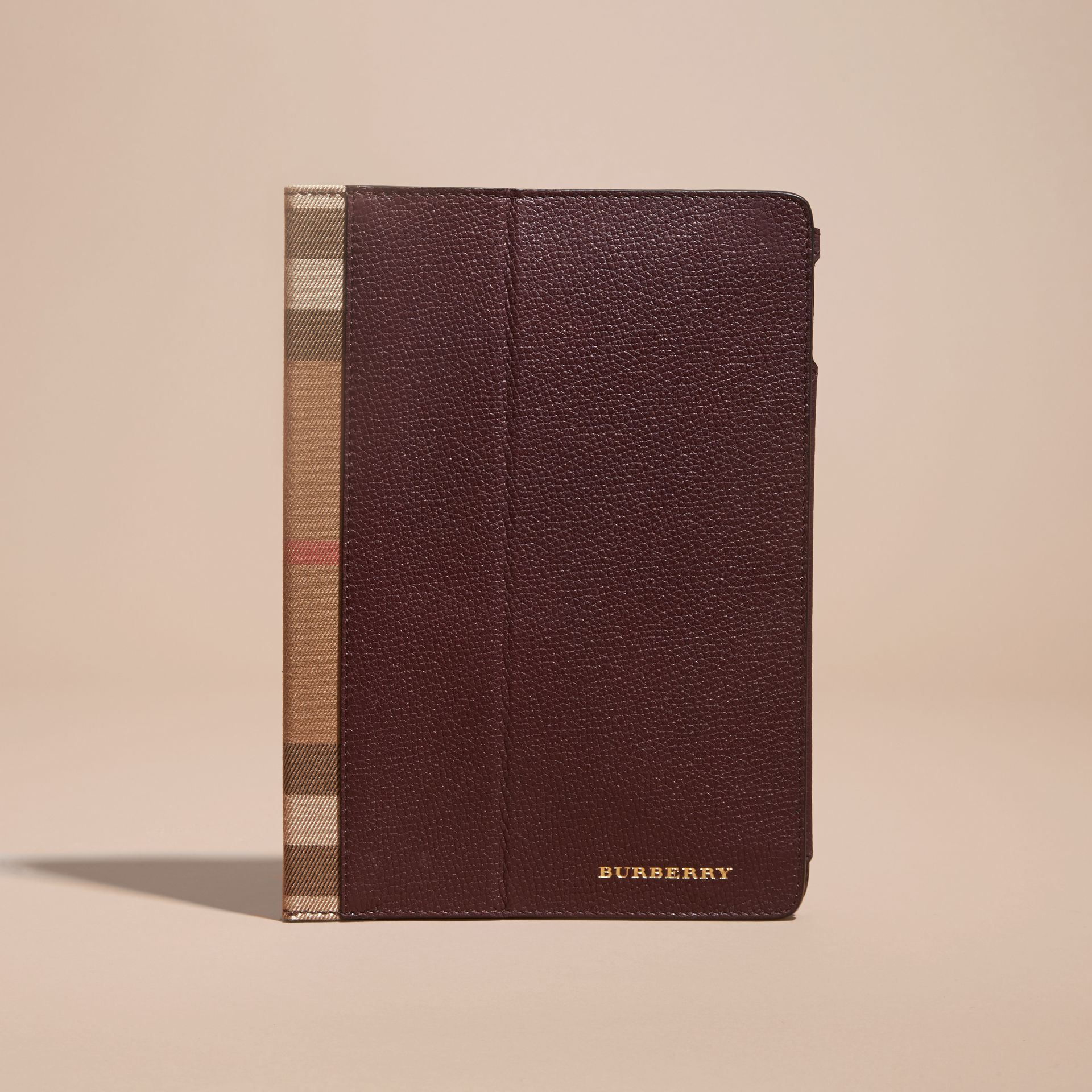 Grainy Leather and House Check iPad Case in Wine - gallery image 5