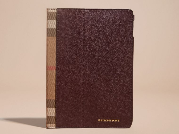 Grainy Leather and House Check iPad Case Wine - cell image 4