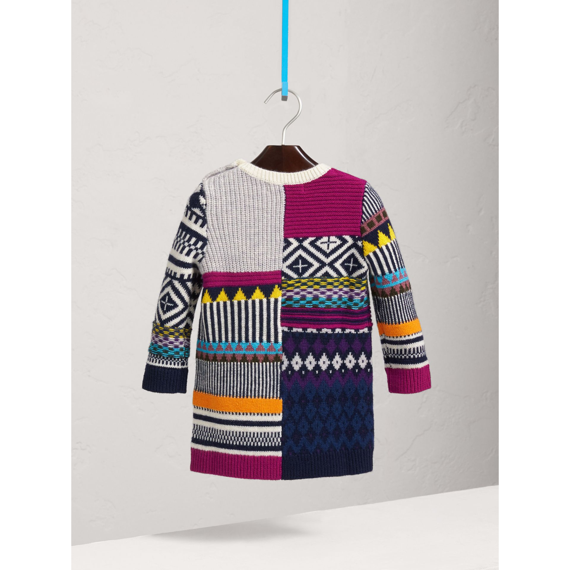 Fair Isle Wool Cashmere Sweater Dress in Bright Pink | Burberry - gallery image 3