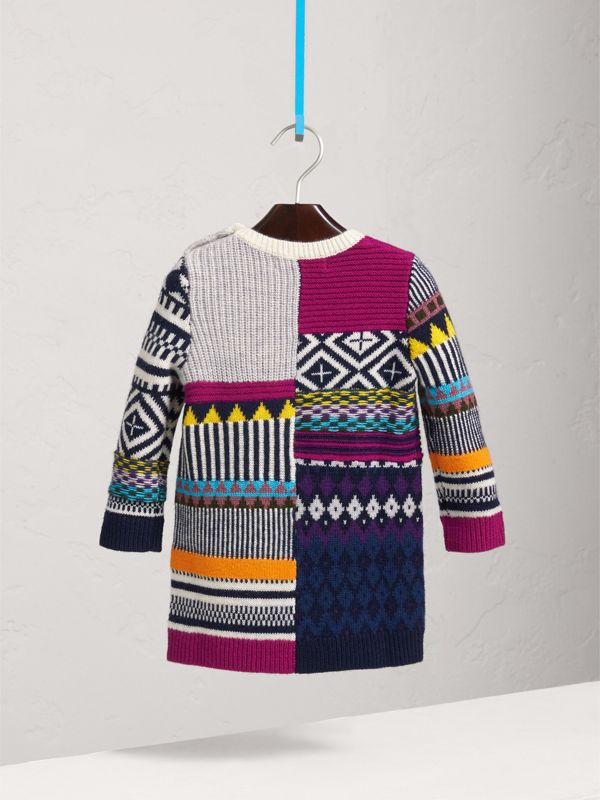 Fair Isle Wool Cashmere Sweater Dress in Bright Pink | Burberry - cell image 3