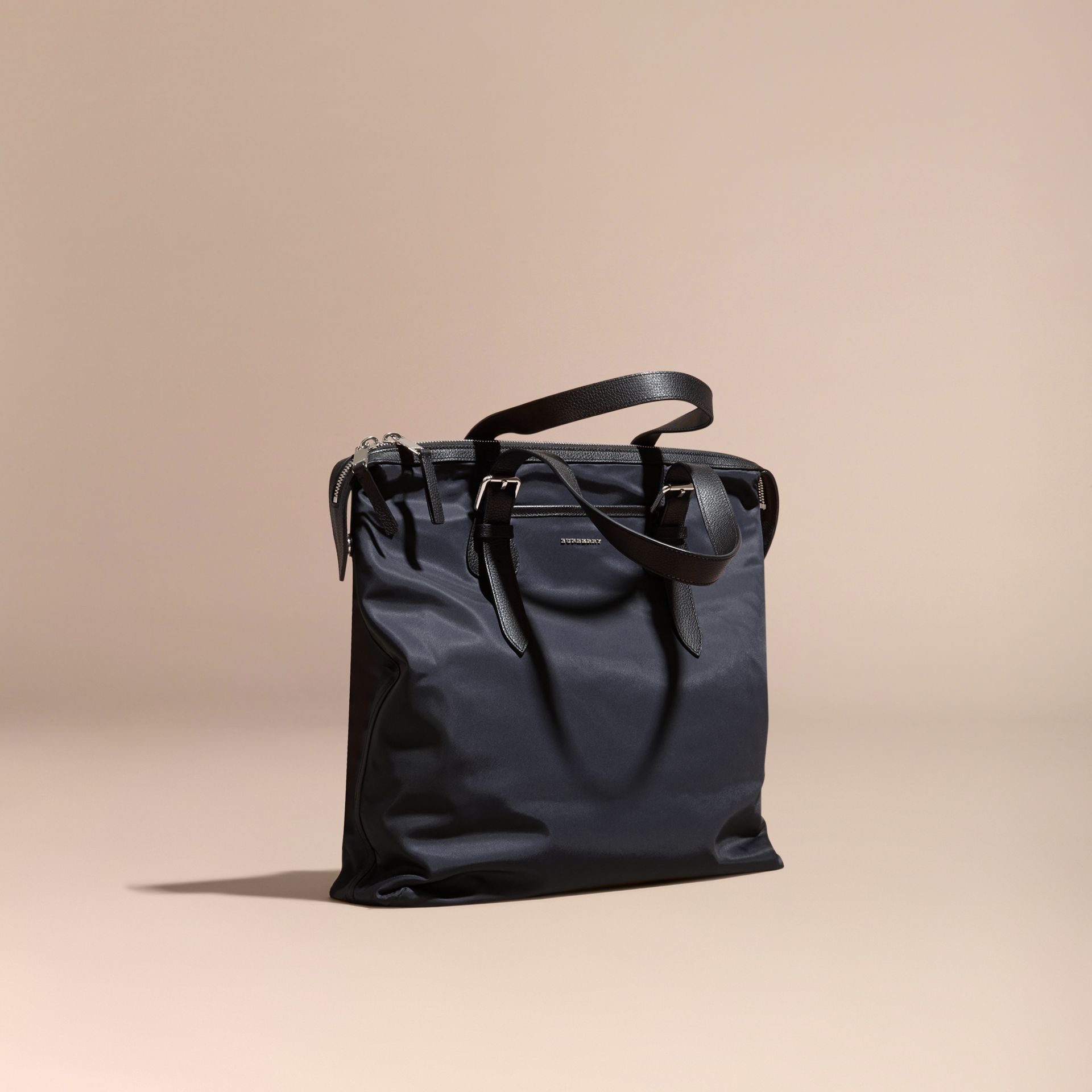 Dark navy Leather Trim Tote Bag Dark Navy - gallery image 1