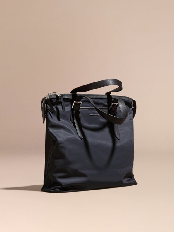 Leather Trim Tote Bag Dark Navy