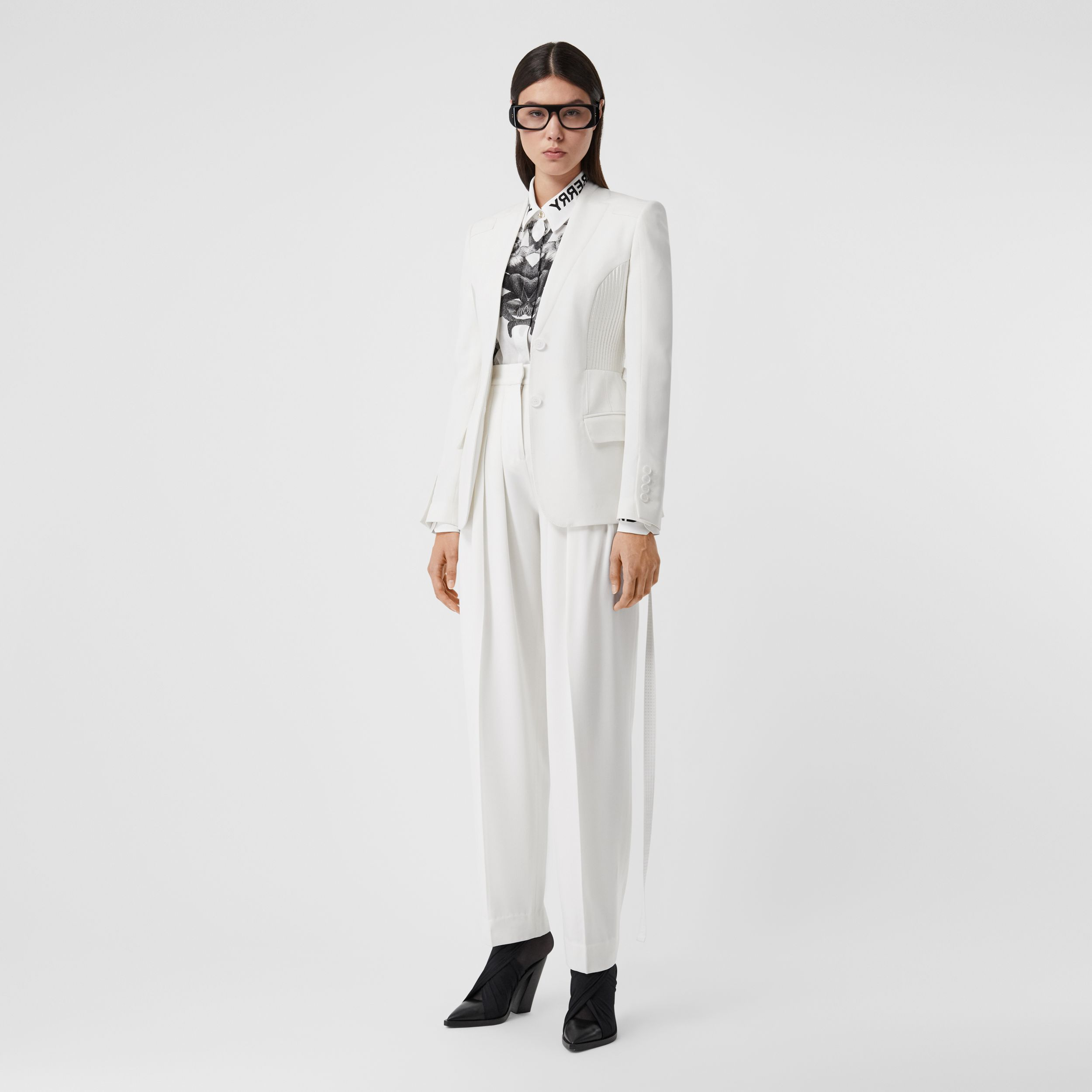 Grain De Poudre Wool Pleated Trousers in Snow - Women | Burberry - 1