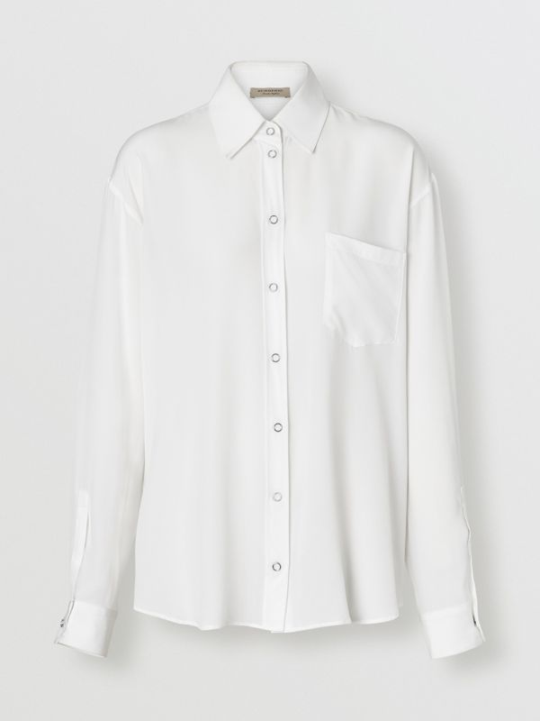 Press-stud Silk Crepe De Chine Oversized Shirt in White - Women | Burberry - cell image 3