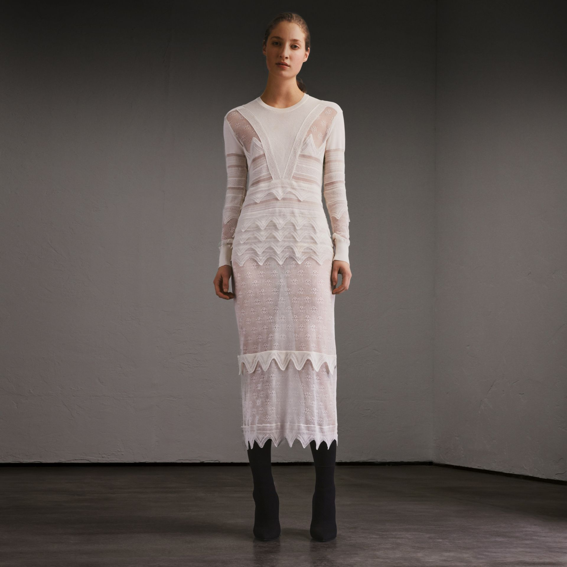 Knitted Lace Column Dress - Women | Burberry - gallery image 1