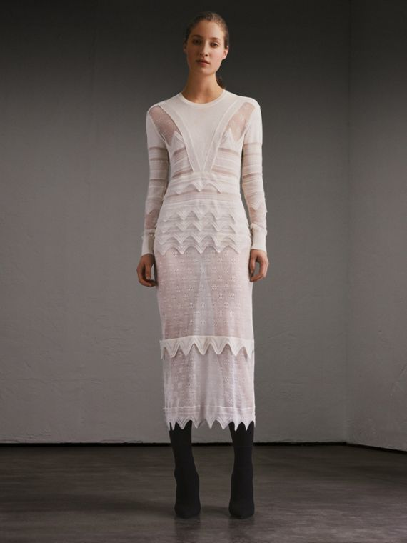 Knitted Lace Column Dress - Women | Burberry