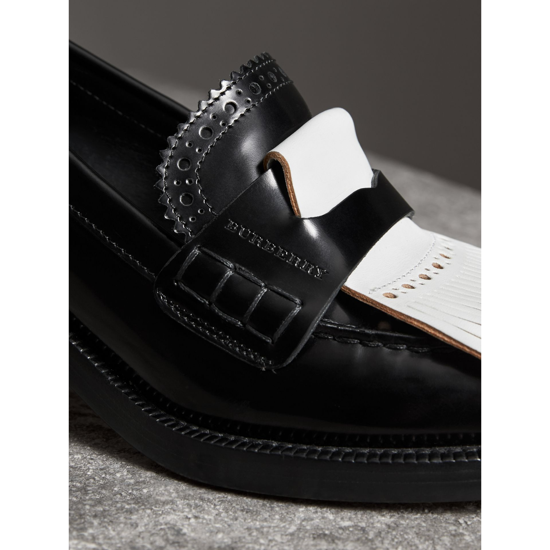 Contrast Kiltie Fringe Leather Block-heel Loafers in Black - Women | Burberry - gallery image 1