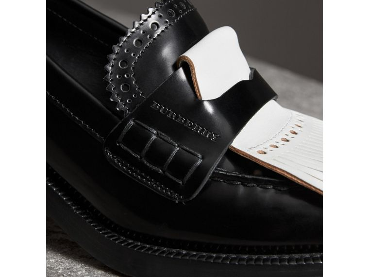 Contrast Kiltie Fringe Leather Block-heel Loafers in Black - Women | Burberry - cell image 1