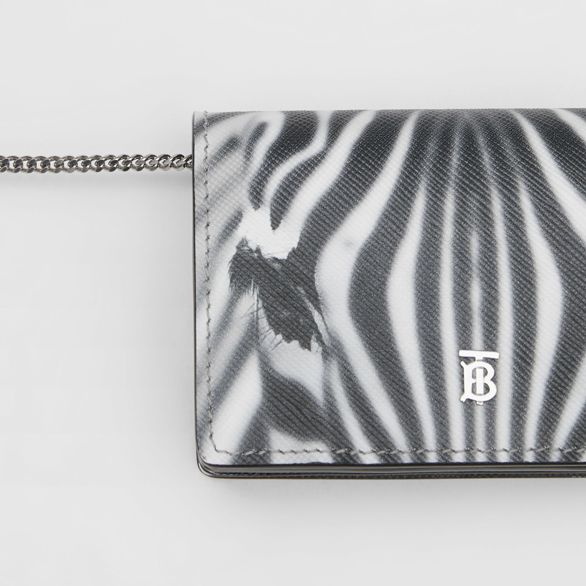 Zebra Print Leather Card Case with Detachable Strap in Black | Burberry - gallery image 1