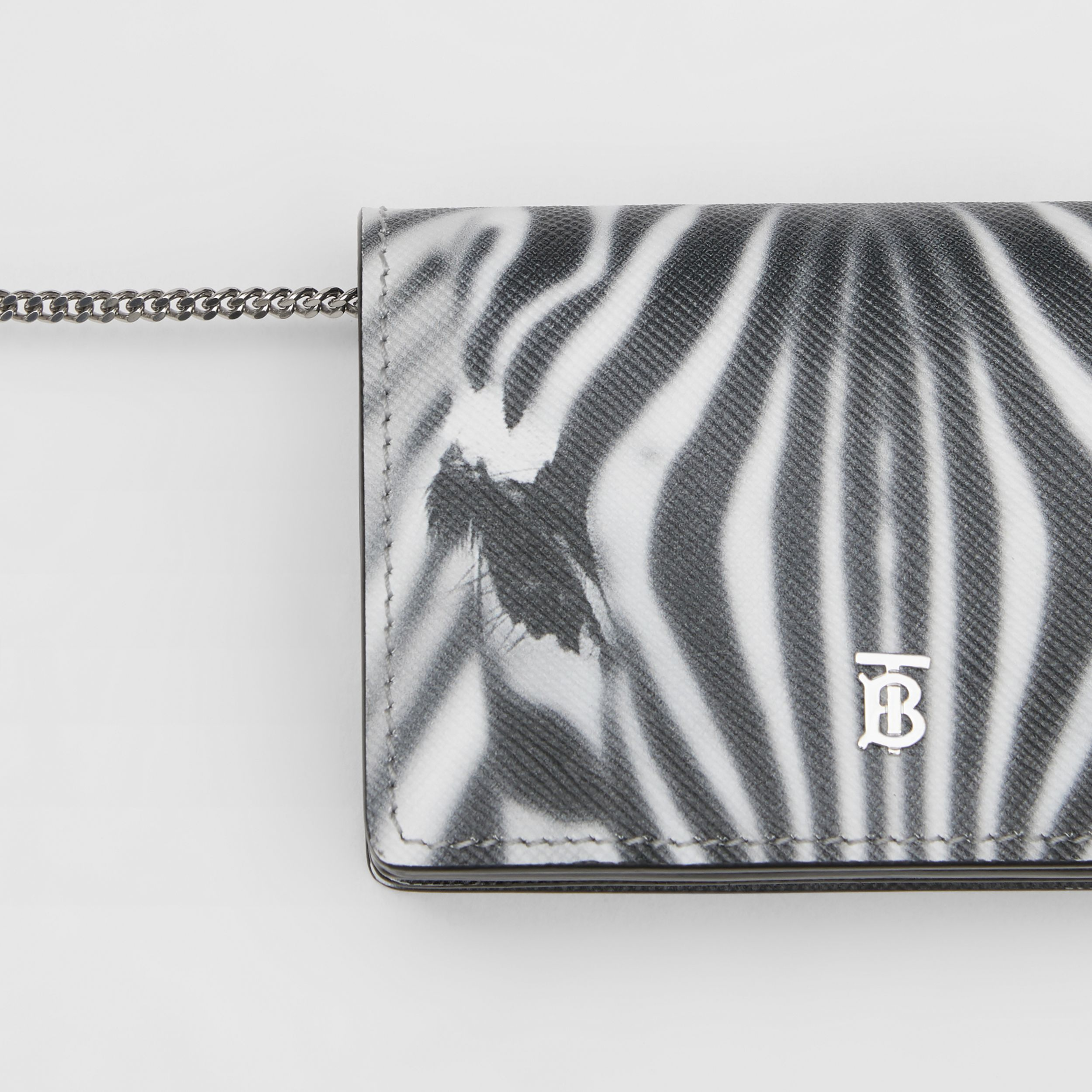 Zebra Print Leather Card Case with Detachable Strap in Black | Burberry - 2
