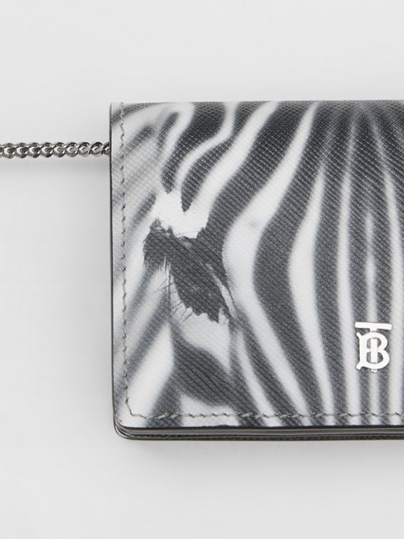 Zebra Print Leather Card Case with Detachable Strap in Black | Burberry - cell image 1