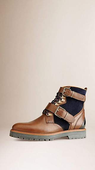 Colour Block Leather Ankle Boots