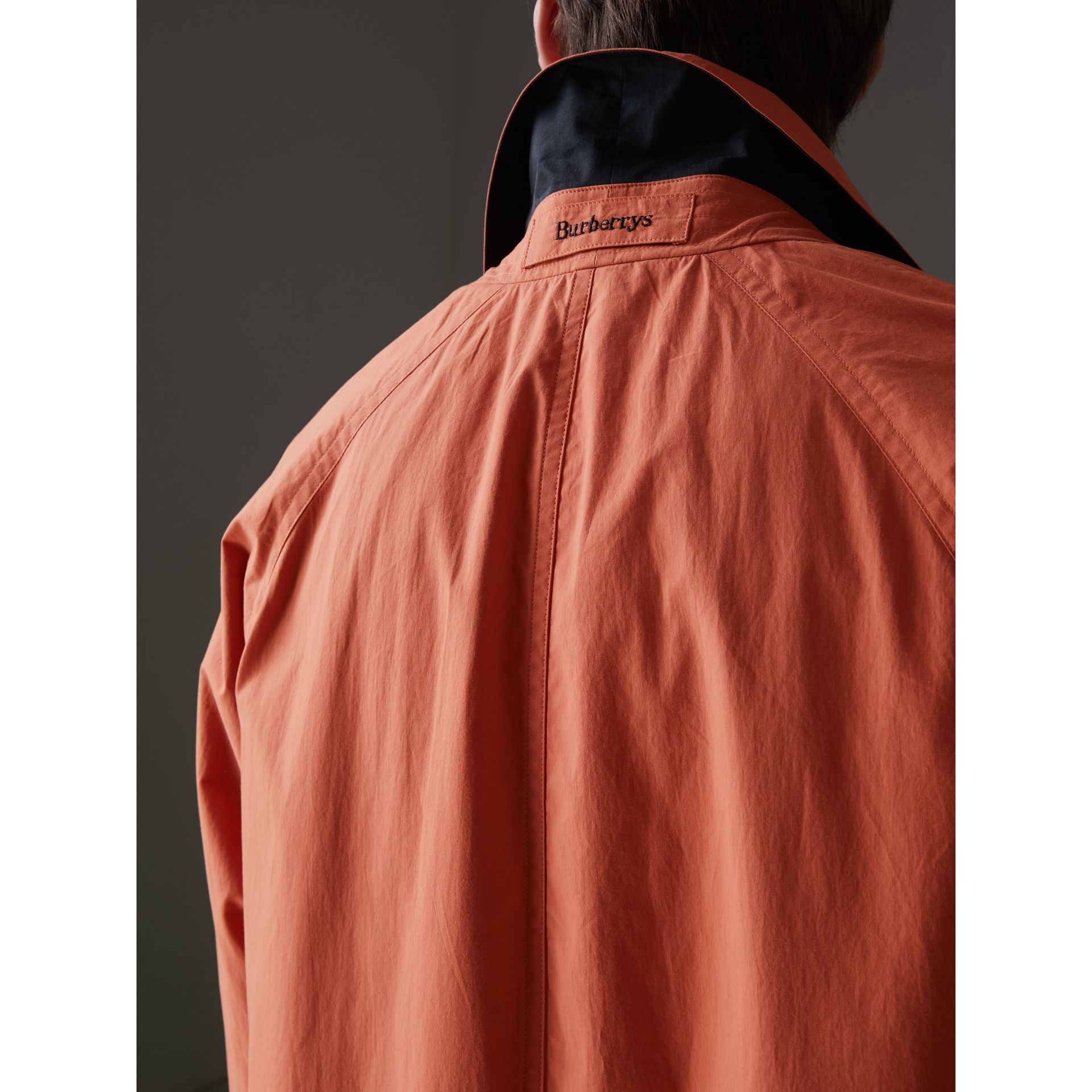 Reissued Cotton Car Coat with Detachable Warmer in Coral - Men | Burberry - gallery image 1