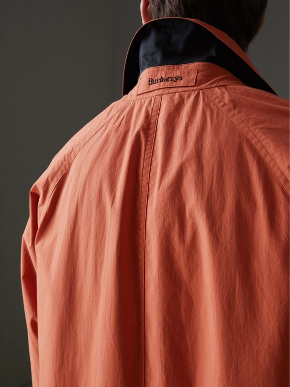 Reissued Cotton Car Coat with Detachable Warmer in Coral - Men | Burberry - cell image 1