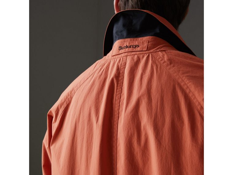 Reissued Cotton Car Coat with Detachable Warmer in Coral - Men | Burberry Australia - cell image 1