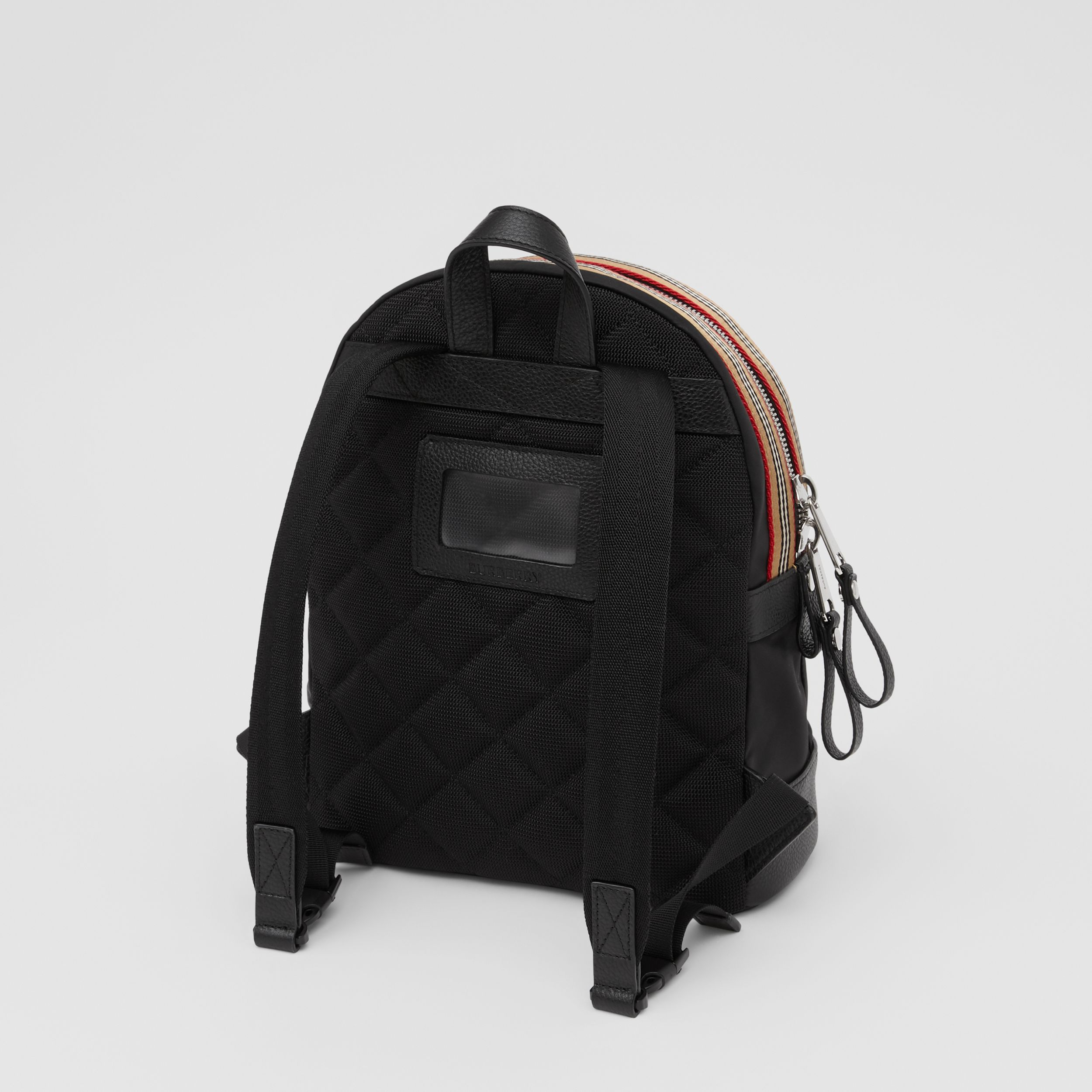 Logo Appliqué Icon Stripe Trim ECONYL® Backpack in Black - Children | Burberry - 3