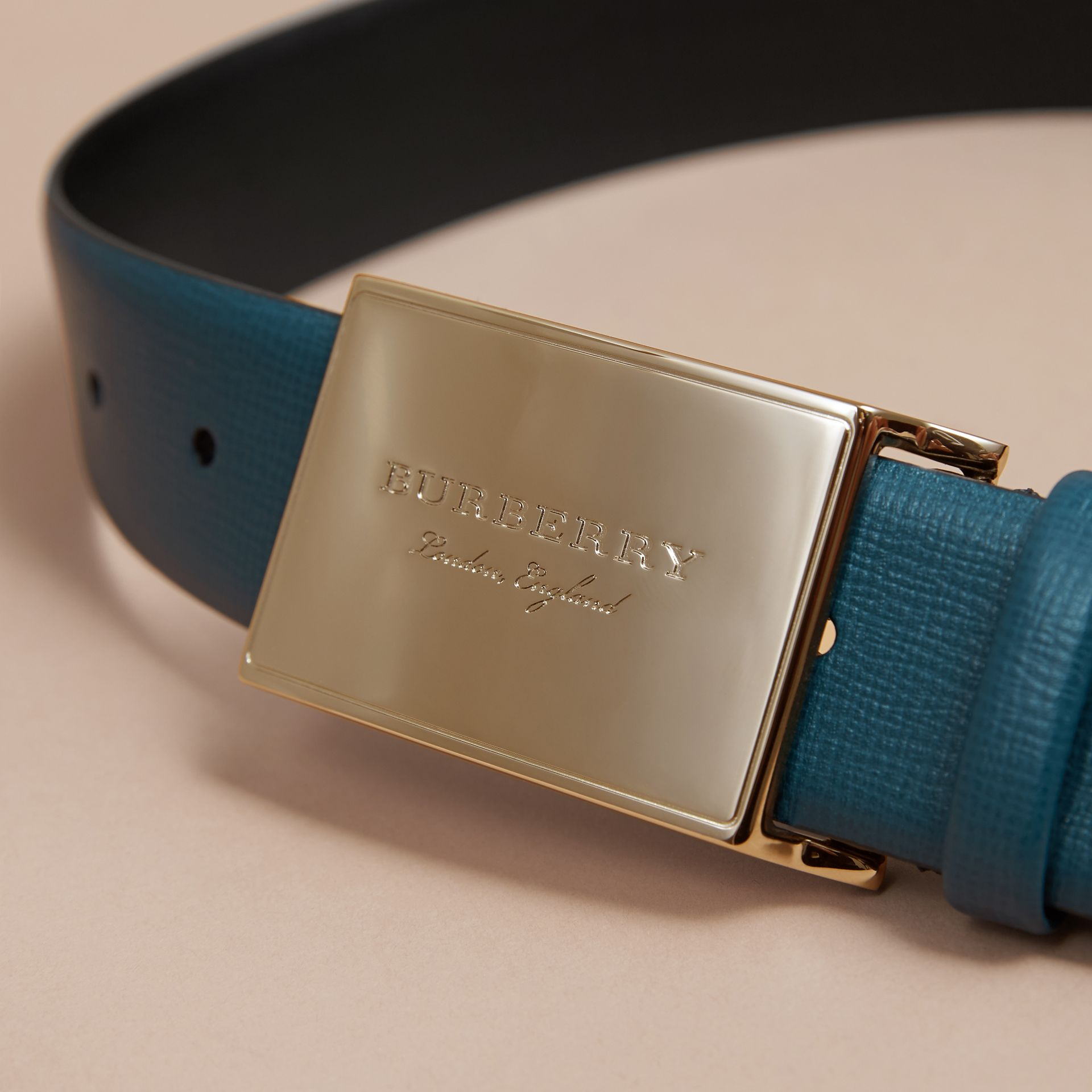 London Leather Belt with Plaque Buckle Mineral Blue - gallery image 2