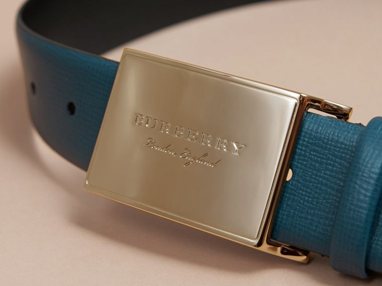 London Leather Belt with Plaque Buckle Mineral Blue - cell image 1