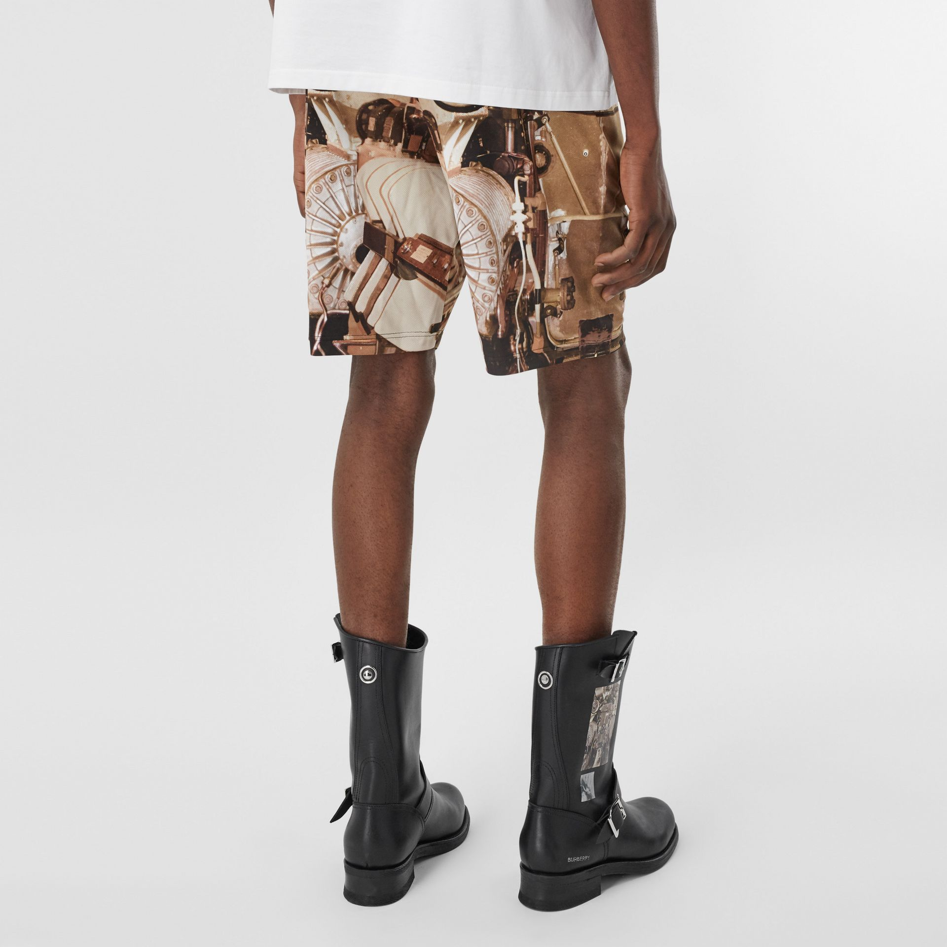 Submarine Print Mesh Shorts in Bronze - Men | Burberry - gallery image 2