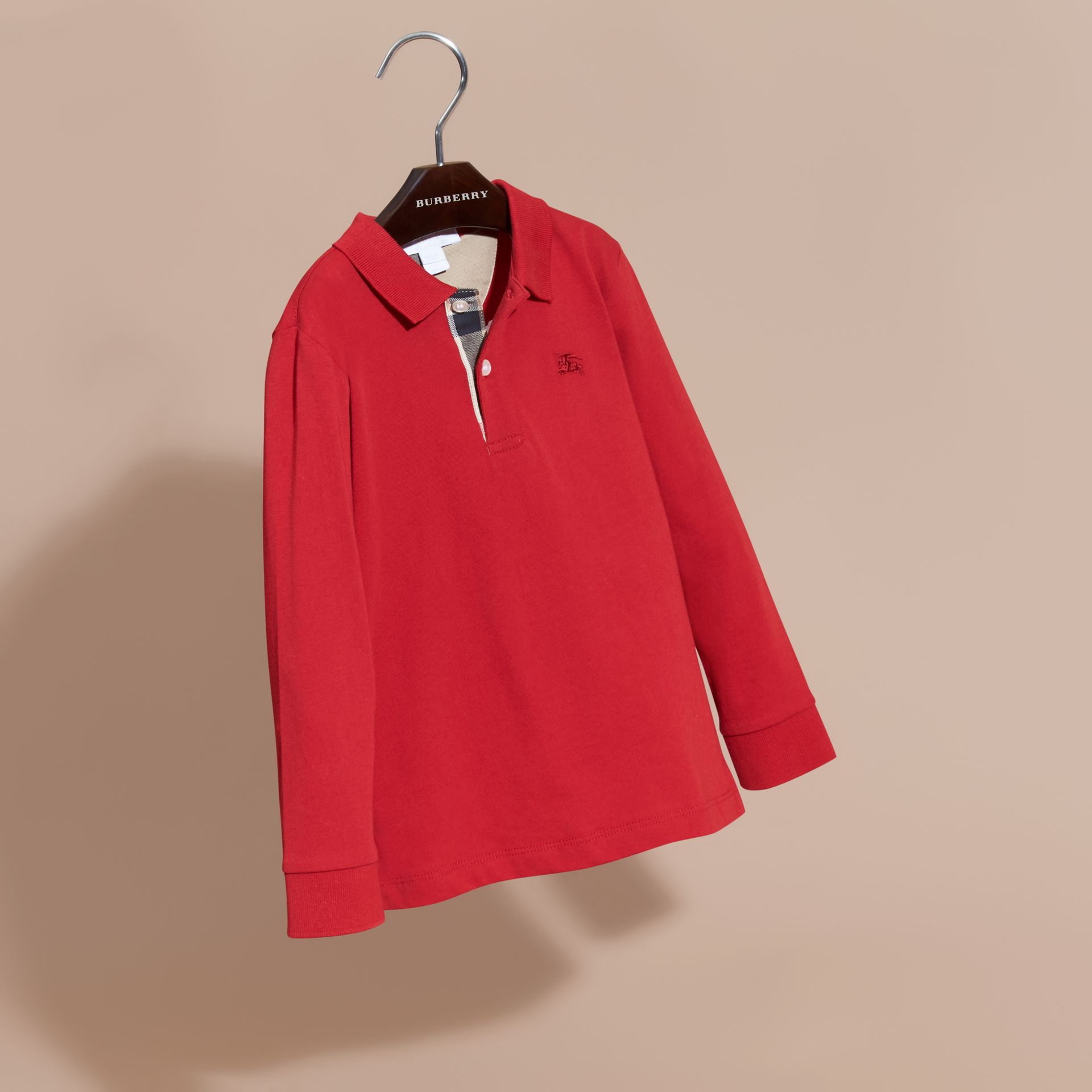 Long-sleeve Cotton Jersey Polo Shirt in Military Red - Boy | Burberry - gallery image 3